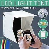 Volkwell Portable Foldable Photo Studio Box with LED Light - 23 x 24 x 24cm,Mini Table Top Mini Shooting Tent Kit for Photography 40 LED Lights 6 Colors Backdrops