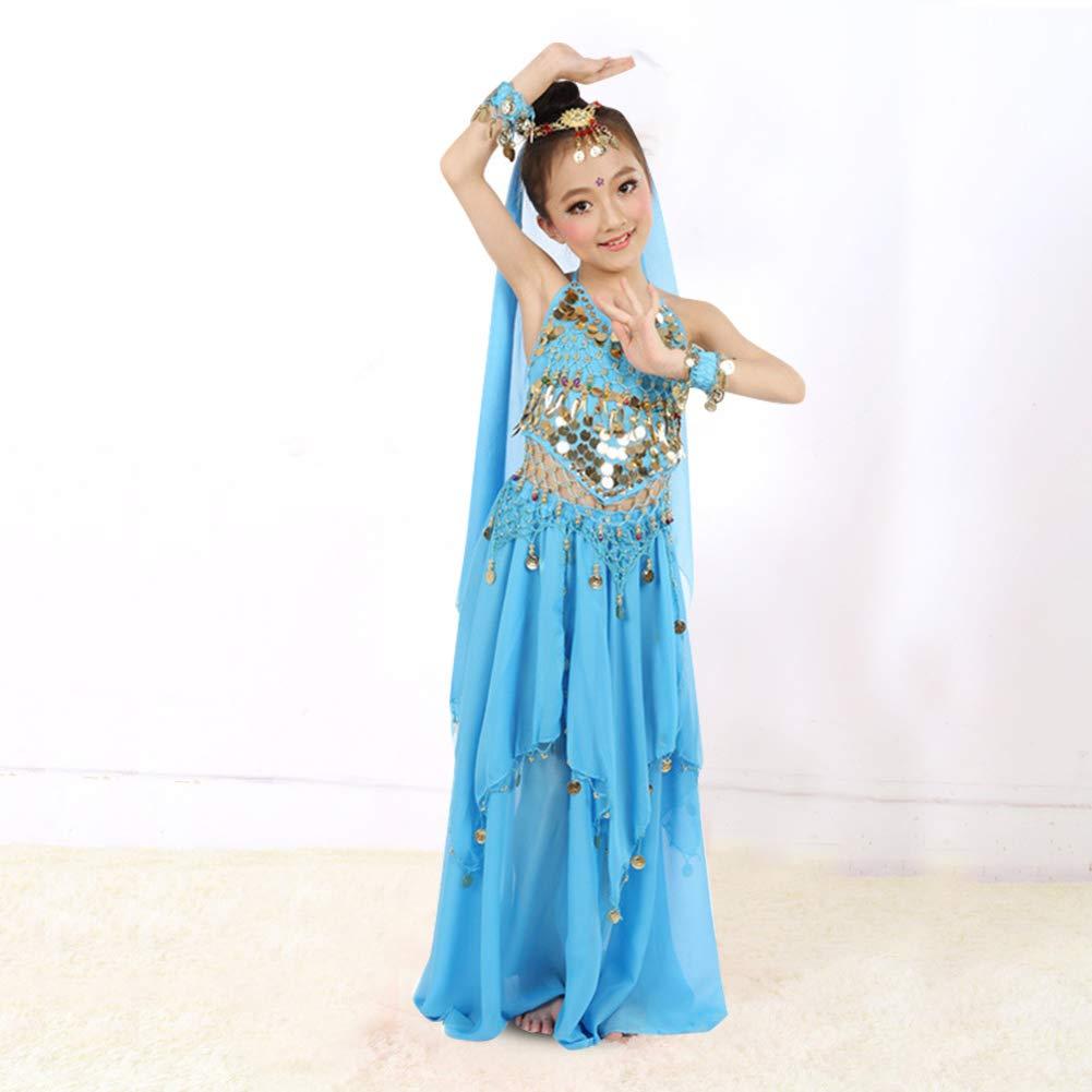 Tbest Costume di Danza del Ventre Abbigliamento da Ragazza per Bambini con Danza del Ventre Vestito con Braccialetti con Testa a Velo per Ragazze