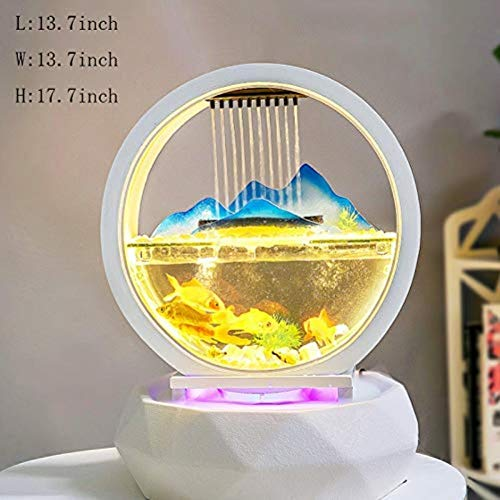 LZRZBH Statue Abstract Living Room Creative Fish Tank Sculptures Water Ornaments,Home Decoration Tabletop Fountain with Light Auspicious Glass Fish Tank Opening Gifts New House Figurine /17.7 Inch (Abstract Sculpture Fish)