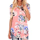 Short Sleeve Tee Blouse for Women, Amiley Womens Side Twist Knotted Stripe Short Sleeve Shirt Casual Off Shoulder Blouse Tee (X-Large, Pink)