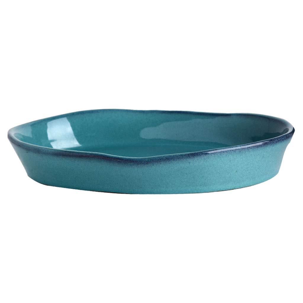 Gro/ße westliche Meeresfr/üchte-Suppenteller Color : Green, Gr/ö/ße : 31x20.5x4cm WZJ-PLATE Amerikanischer gr/üner unregelm/ä/ßiger ovaler keramischer Fischteller mit gro/ßem Fassungsverm/ögen