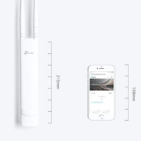TP-Link EAP110-Outdoor - Punto de acceso inalámbrico N a 300mbps, para exteriores, Resistente al agua, Ideal para Wi-Fi de jardín, Gestión ...
