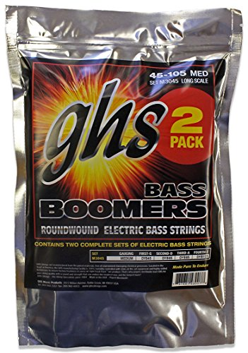 GHS Strings M3045-2, 4-String Bass Boomers, Nickel-Plated Electric Bass Strings, Long Scale, Medium, 2 Pack (Bulk Bass Strings)