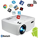 BeVision Projector, Smart Android WiFi Bluetooth Video Beam, by, 220 ANSI Lumen 180' Max for Movie Games, Quiet Fan, Built-In Speaker with HDMI VGA USB AV ports