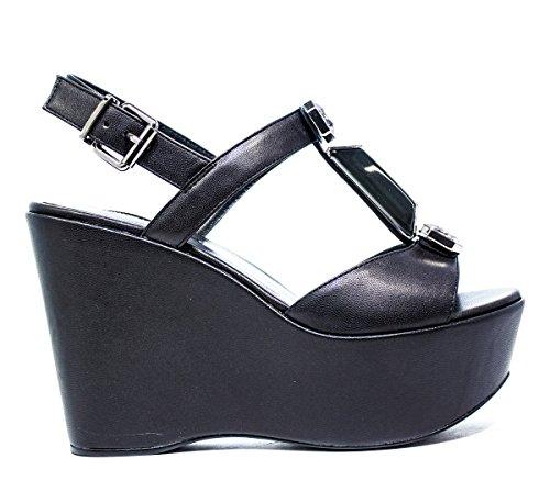 LUCIANO BARACHINI 6321 B MUJERES de zapatos de las sandalias de la cuña, NUEVA COLECCIÓN PRIMAVERA VERANO 2016 DE PIEL NEGRO