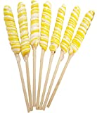 9 inch Twist Twirly Unicorn Lollipops 12 units 1oz Yellow & White Long Lollipops With Wooden Stick