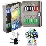 Key Box 48 Metal Safe Hook Cabinet With Tag Keys Organizer Lock Storage Case Wall Mount
