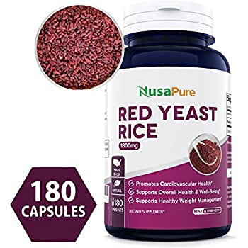 Best Red Yeast Rice 1800mg 180 Capsules (Non-GMO, Gluten Free & Citrinin Free) - Dietary Supplement Powder Pills to Support Cardiovascular Health - 100% ...