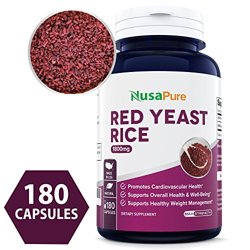 Red Yeast Rice 1800mg 180 Capsules (Non-GMO, Gluten Free & Citrinin Free) - Dietary Supplement Powder Pills to Support Cardiovascular Health - 100% Money Back Guarantee - Order Risk Free!