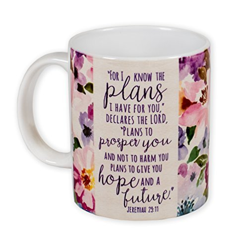 (Plans I Have For You Jeremiah 29:11 Watercolor Floral 11 Ounce Ceramic Coffee Mug)