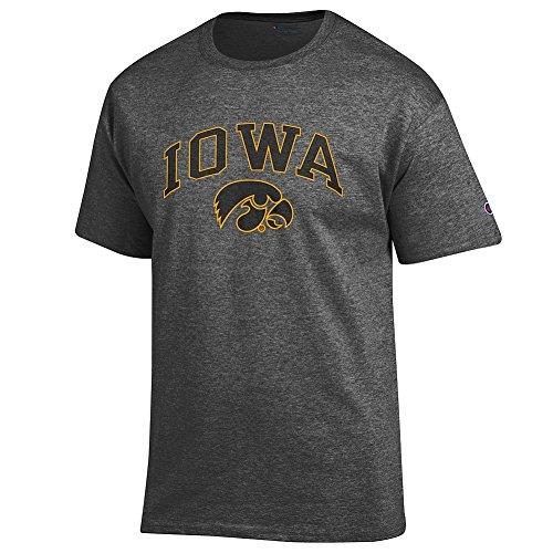 Iowa Hawkeyes Fan - Elite Fan Iowa Hawkeyes Men's Short Sleeve Arch Tee Shirt, Dark Heather, X Large