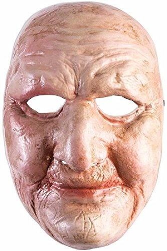 Full Front Face Mask Weathered Old Lady Man Chubby Wrinkled Accessory Costume (Chubby Costume)
