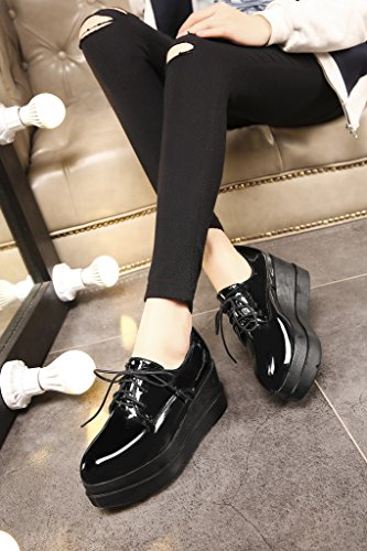 Creepers Flache Derbies Lacets RoseG Femmes Plateforme Mode Vernis ZSqawvp