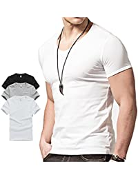 Hyuling Gym Mens Short V-neck T-shirt (1pack, 2pack, 3pack)