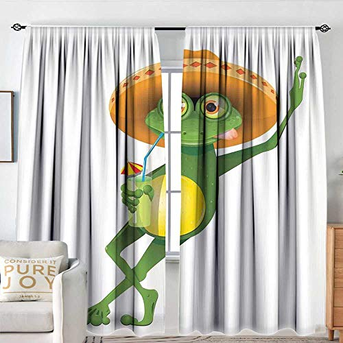 Blackout Thermal Insulated Window Curtain Valance Cartoon,Frog in a Sombrero and a Cocktail Drink Glass Fauna Hot Weather Holiday,Fern Green Apricot,Rod Pocket Valances 54