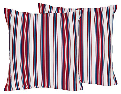 Sweet Jojo Designs Nautical Nights Red White and Blue Stripes Decorative Accent Throw Pillows Set of 2
