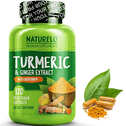 NATURELO Organic Turmeric Powder with Ginger Extract – Added BioPerine for Better Absorption – Best Anti Inflammatory Curcumin Supplement for Joint Pain Relief – 120 Capsules