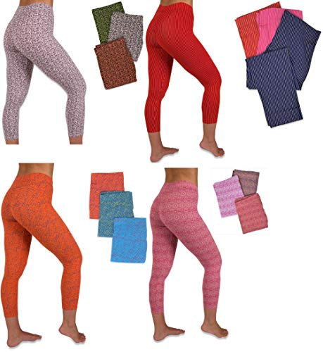 Sexy Basics Women's 12 Pack Stretch Cotton Capri Length Above Ankle Legging Tights (12 Pack -Assorted Hot Prints A, 2X)