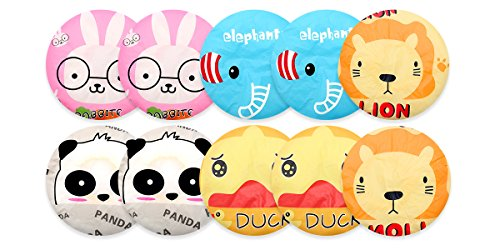 10 Pieces Shower Cap Elastic Waterproof Bath Cap Plastic Bathing Hair Cap Lady Salon Hat  (animal series)