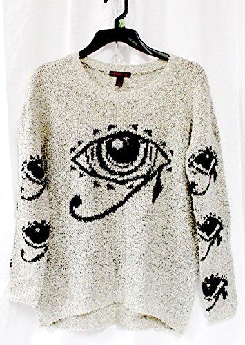 Material Girl Juniors' Boucle Eye Sweater Gray Black L NWT -