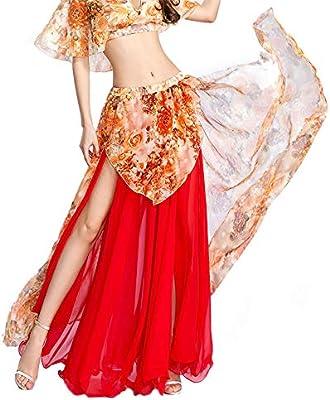 ROYAL SMEELA Falda de Danza del Vientre Mujer Chicas Rojo: Amazon ...