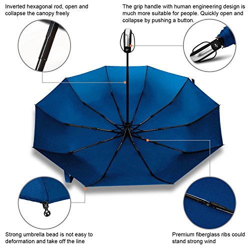 Rainlax Travel Umbrella Unbreakable Lightweight 10 Ribs Automatic Compact Windproof Canopy Umbrellas for Men/Women One Handed Operatio (Sapphire Blue)