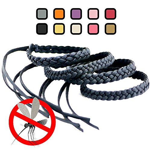 Price comparison product image Original Kinven Mosquito Insect Repellent Bracelet Waterproof Natural DEET FREE Insect Repellent Bands,  Anti Mosquito Killer Protection Outdoor & Indoor,  Adults & Kids,  4 bracelets,  in Black