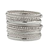 Lux Accessories Glitter Sparkle Mixed Metal Pave Crystal Textured Multiple Bangle Set.