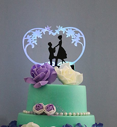 ShinyBeauty LED-Cake-Topper,Lighted Wedding Cake topper,Silhouette Cake (Lighted Topper)
