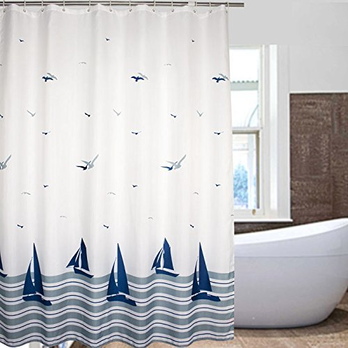 Nautical Striped Sailing Boat & Sea Gull Beach Pattern Bathroom Shower Curtains - White and Navy Fabric Kids Curtain with 12 Plastic Hooks -180x200cm(72x78Inch) by Weare Home by Weare Home