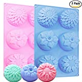 (US) Food Grade Silicone Mold, IHUIXINHE Non-stick Ice Cube Mold, Jelly, Biscuits, Chocolate, Cupcake Baking Mould, Silicone Flower Soap Mold ( Sunflowers 2PCS IHUIXINHE Phone Rope Incl) (Sunflower)