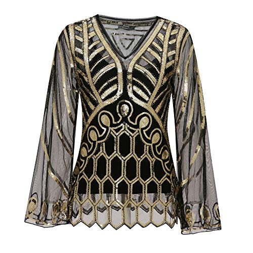 Metme Women's Sequin Blouse See Through Party Tops Beaded Sparkly Shirts Black + Gold, Large, US 12-14
