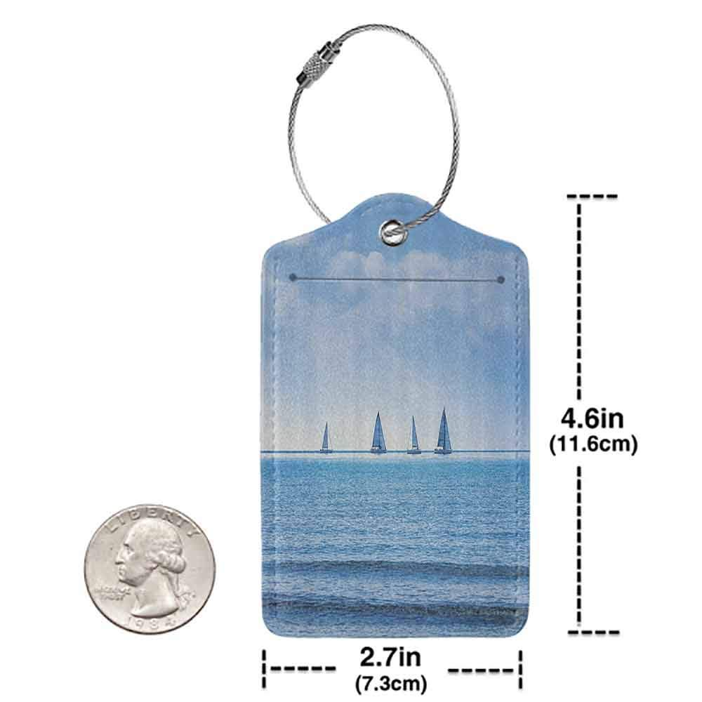 Small luggage tag Nautical Decor Racing Yachts on the Ocean Water Regatta Race Panoramic Distant View Relax Win Photo Quickly find the suitcase Light Blue W2.7 x L4.6
