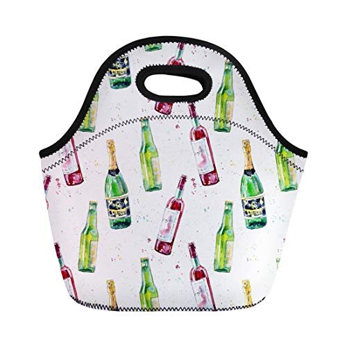 Semtomn Lunch Bags Abstract of Champagne Wine and Beer Painting Alcohol Drink Neoprene Lunch Bag Lunchbox Tote Bag Portable Picnic Bag Cooler Bag