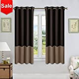 NICETOWN Living Room Blackout Curtains – Window Treatment Thermal Insulated Grommet Colorblock Blackout Drapes (Two Panels,52 by 63″,Brown & Taupe) Review