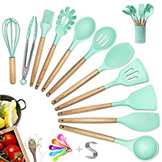 Silicone Kitchen Cooking Utensil Set with Holder Gift, 14pcs Pioneer Wooden Spatula Measuring Spoon Tools for Nonstick Cookware, Ideal Gift for Woman Mom Family - Mint Green/Aqua