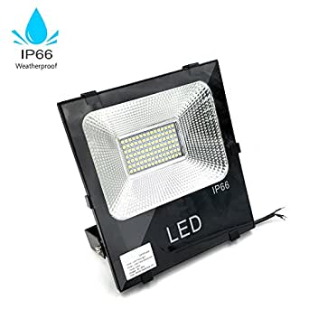 100W Super Bright LED Floodlight , Daylight White, Outdoor IP66 Waterproof Security Light, 5500K Daylight White,500W Halogen Equivalent for Boat Lamp, Garden, Sports Ground, Square, Black Case-4 Packs
