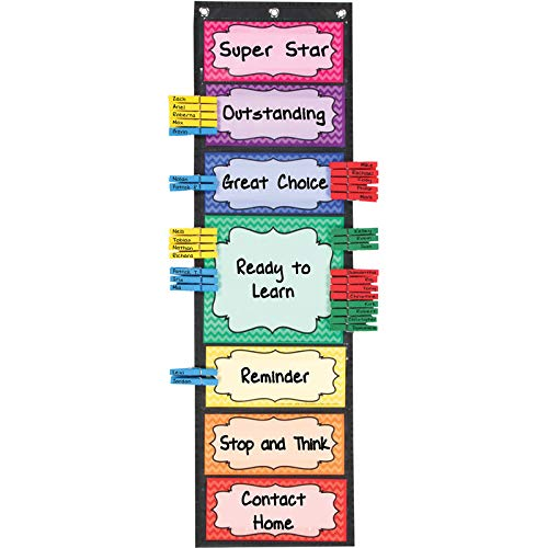 Really Good Stuff Classroom Behavior EZ-Tuck Clip 'N' Track Pocket Chart and Clothespins - Track Student Actions Easily Each -