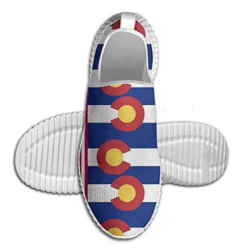 Mocassino Usa Colorado Bandiera Donna Mocassino Uomo Scarpe Da Corsa Mesh Traspirante Outdoor Sport Scarpe Da Passeggio Bianco