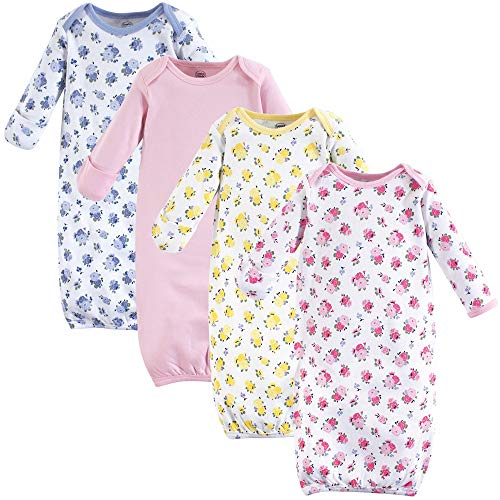Luvable Friends Unisex Baby Cotton Gowns, Floral 4-Pack, 0-6 Months (Bottom Gown)
