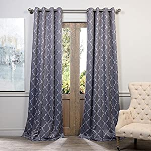 2pc 96 Grey Moroccan Curtains Panel Pair Set Luxury Themed Traditional Lattice Design Polyester Grommet Steel Gray Color Geometric Drapes Damask Trefoil