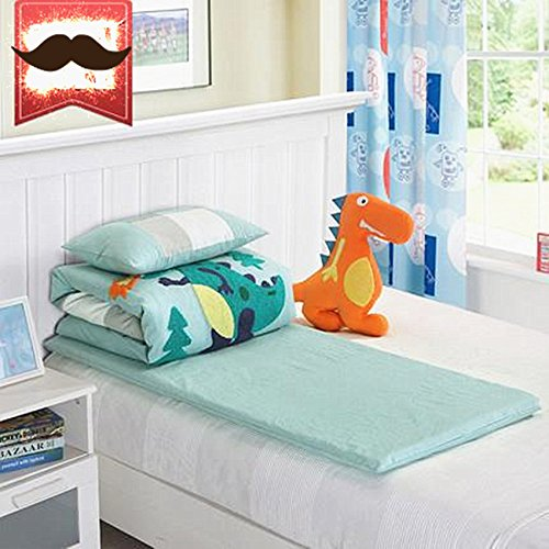 Abreeze Blue Cotton Nursery Crib Bedding Set for Boys Dinosaur Kids Comforter Set,3pcs by Abreeze (Image #3)