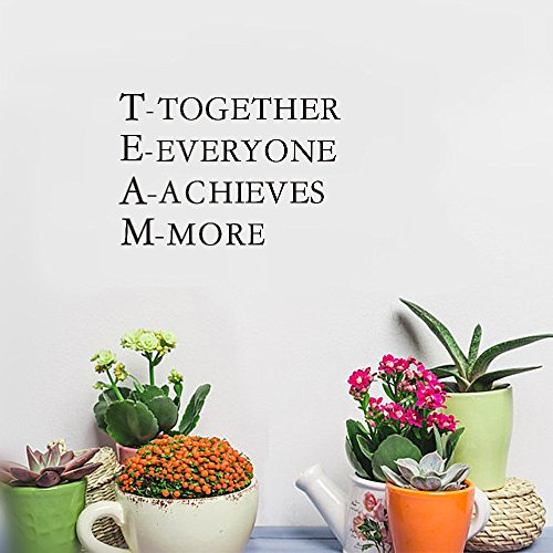 milliy DIY Removable Vinyl Decal Mural Team work together everyone achieves more Inspirational words Office décor