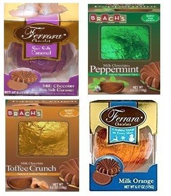 Ferrara Milk Chocolate Ball Assorted Flavors Variety Pack (4 Balls, 1 of each Flavor -- Milk Chocolate Orange, Peppermint, Sea Salt Caramel, Toffee Crunch) (Orange Toffee)