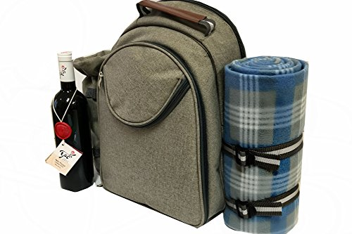 - Insulated Picnic Backpack - Includes Detachable Wine Holder Backpack Basket contains full Cutlery set and Big 50 X 50 Comfortable Waterproof Blanket Makes A great Christmas Gift - By Scuddles