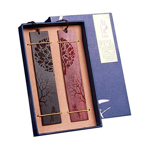 Eraimp Novelty Handcraft Natural Wood Bookmarks - Engraved Suiyue & LiuNian Characters - Pack of 2