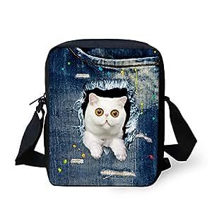 HUGS IDEA White Cat Pattern Women Mini Crossbody Bags Denim Ble Single Shoulder Bag Handbags