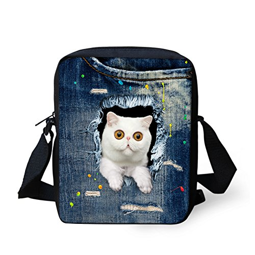 HUGS IDEA White Cat Pattern Women Mini Crossbody Bags Denim Ble Single Shoulder Bag (Jean Purse Pattern)