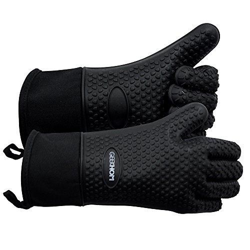 Review BBQ Grilling Gloves, GEEKHOM Silicone Gloves Heat Resistant Oven Mitts, Waterproof Non-slip P...