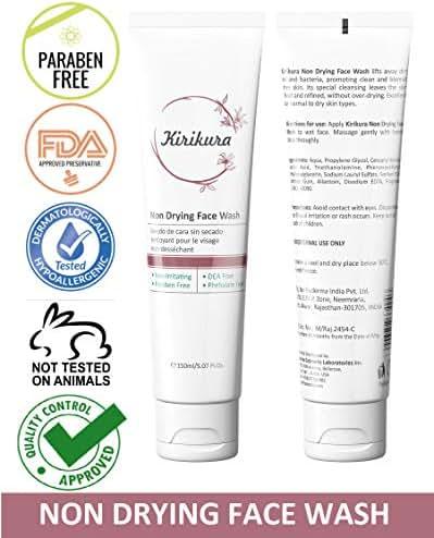 KIRIKURA Non Drying face Wash, Daily face cleanser, Unisex, Non comedogenic, Non-Sensitizing, Non Irritating, Soap free, Lipid Free for all skin types.